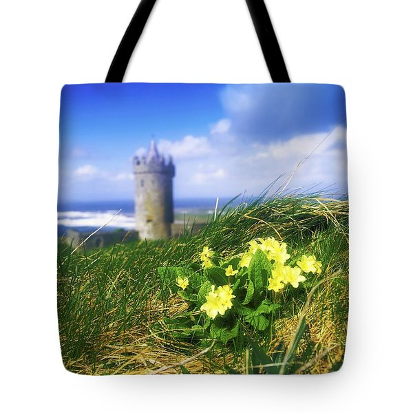 Primrose Flower In Foreground Tote Bag by The Irish Image Collection