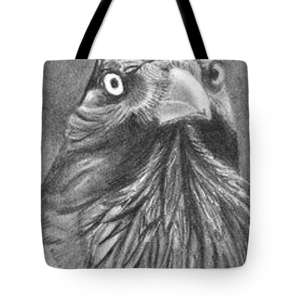 Tote Bag featuring the drawing Princely Raven - Aceo by Ana Tirolese