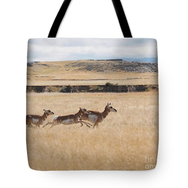 Pronghorn Antelopes On The Run Tote Bag