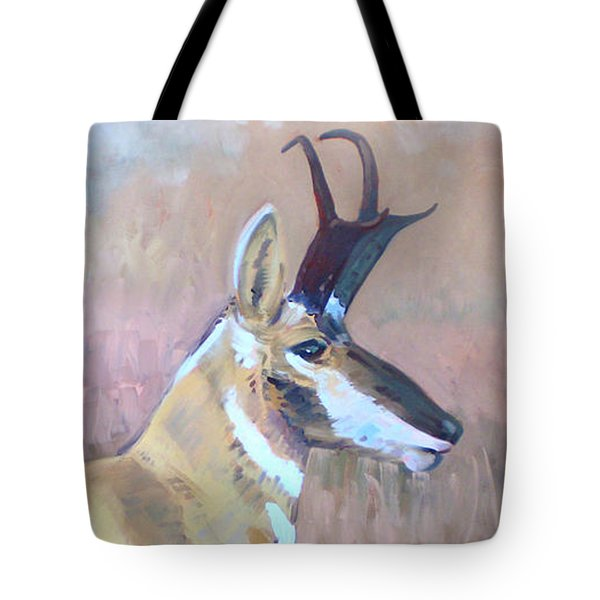 Tote Bag featuring the painting Pronghorn by Donald Maier