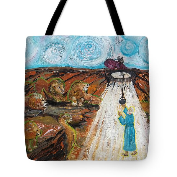 Prophetic Message Sketch 15 Daniel The Lion's Den And The Whirlwind Tote Bag
