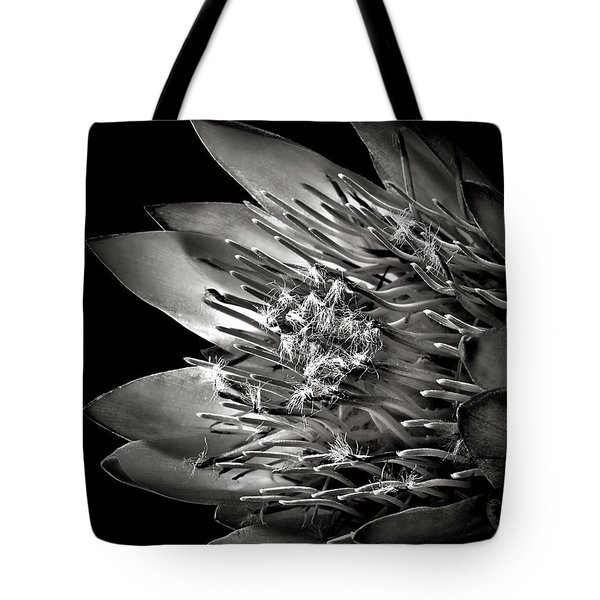 Protea In Black And White Tote Bag