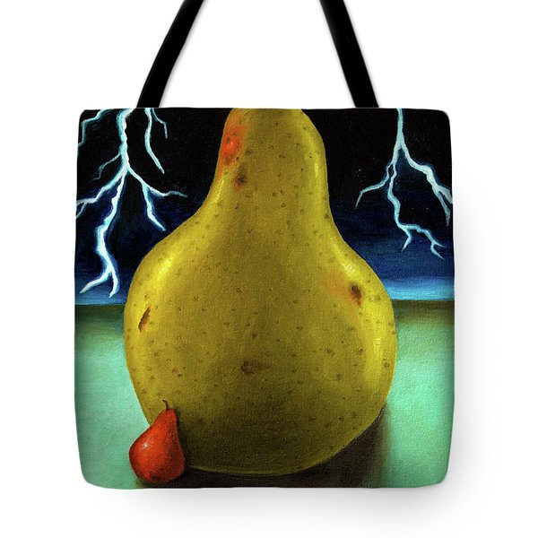 Protecting Baby 9 The Lightening Storm Tote Bag by Leah Saulnier The Painting Maniac
