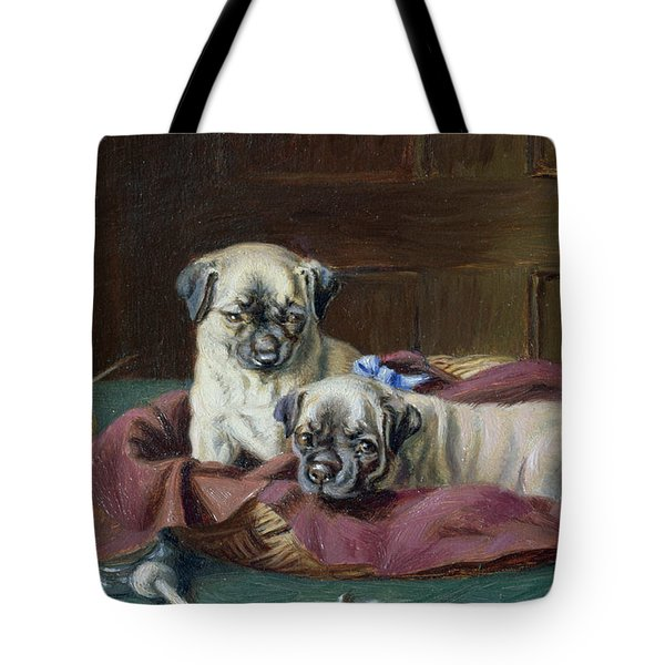 Pug Puppies In A Basket Tote Bag by  Horatio Henry Couldery