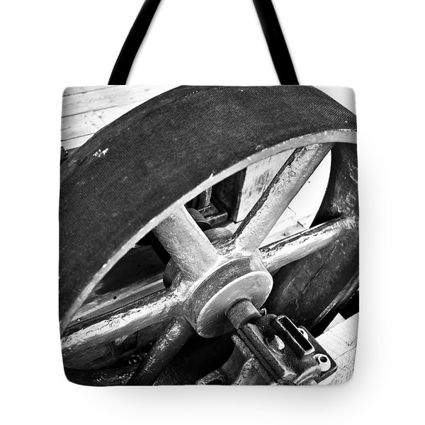 Pulley Wheel From Industrial Sawmill Tote Bag by Paul Velgos