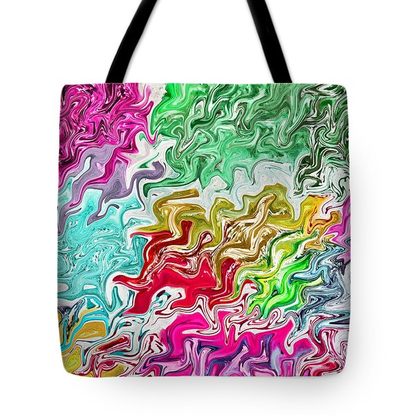 Pulling Colors Abstract Tote Bag by Debbie Portwood