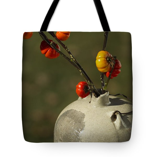 Pumpkin On A Stick In An Old Primitive Moonshine Jug Tote Bag by Kathy Clark