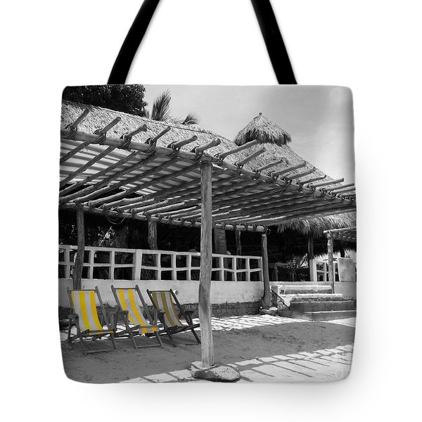 Tote Bag featuring the photograph Punta Mita North Of Puerto Vallarta Mexico Three Amigos Color Splash Black And White by Shawn O'Brien
