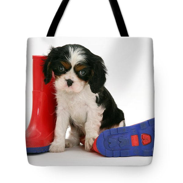 Puppies With A Childs Rain Boots Tote Bag by Jane Burton