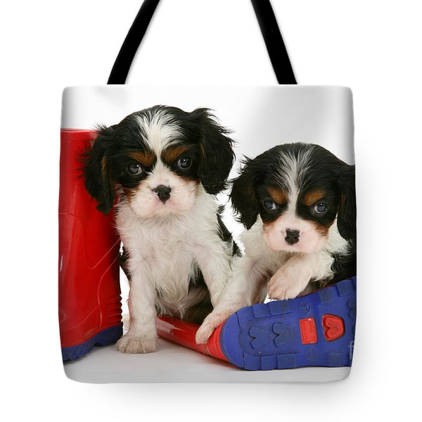 Puppies With Rain Boats Tote Bag by Jane Burton