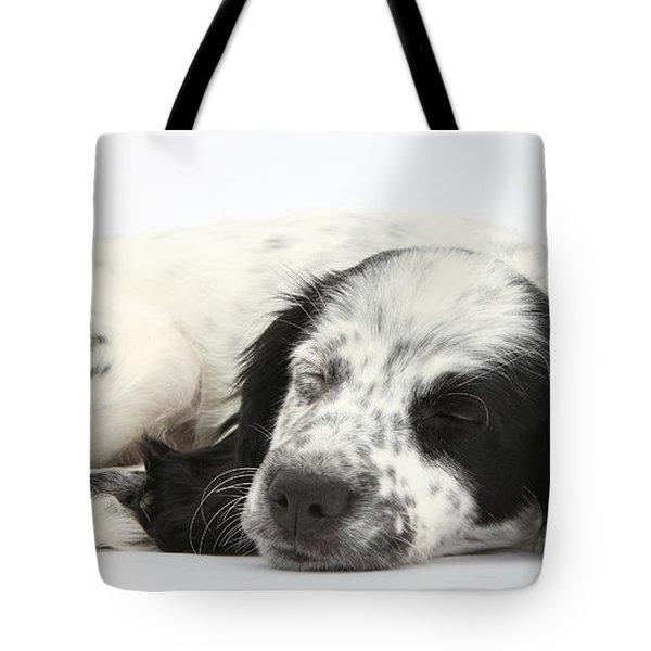Puppy Sleeping Tote Bag by Mark Taylor