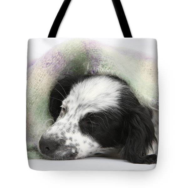 Puppy Sleeping Under Scarf Tote Bag by Mark Taylor