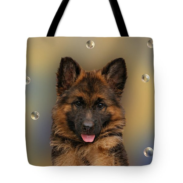 Puppy With Bubbles Tote Bag by Sandy Keeton