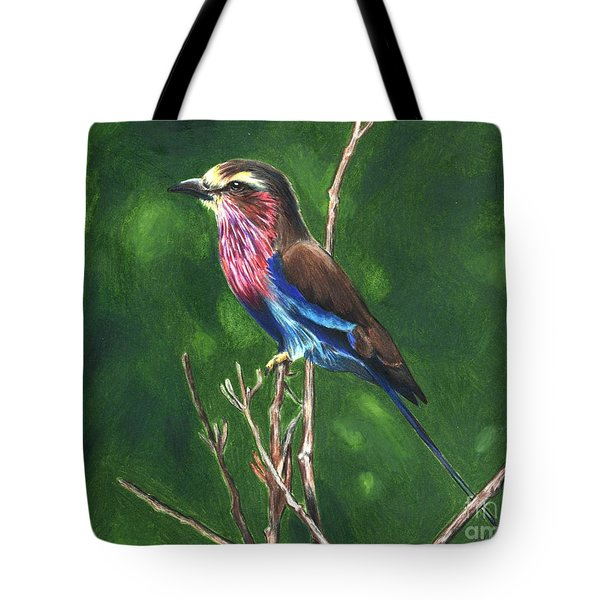 Purple And Blue Bird Tote Bag