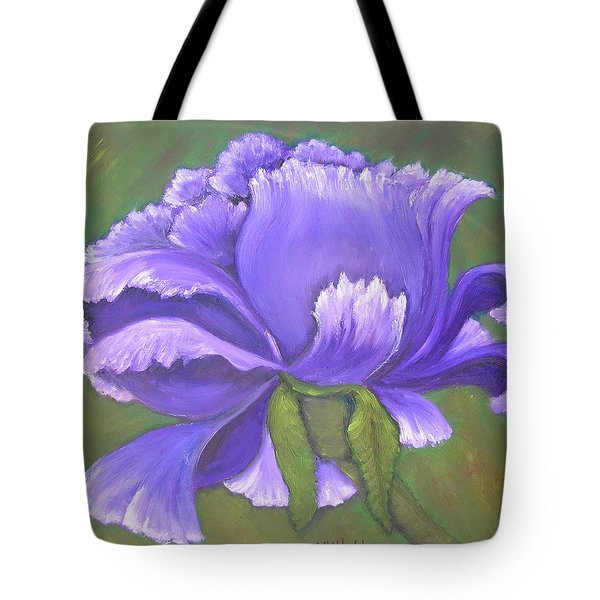 Tote Bag featuring the painting Purple Bloom by Mary Kay Holladay