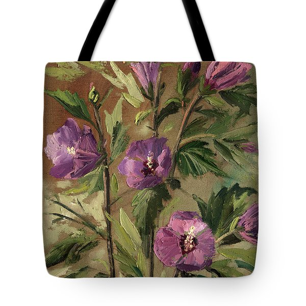Purple Flowers 2 Tote Bag by Rachel Hershkovitz