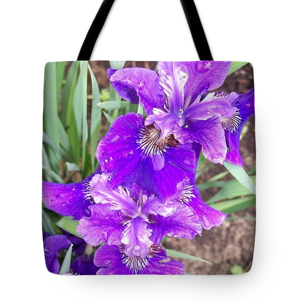 Purple Iris With Water Droplet Tote Bag