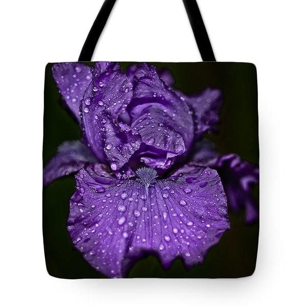 Purple Iris With Water Drops Tote Bag
