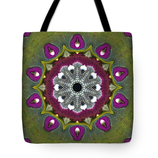 Tote Bag featuring the digital art Purple Snakeskin Flower by Alec Drake