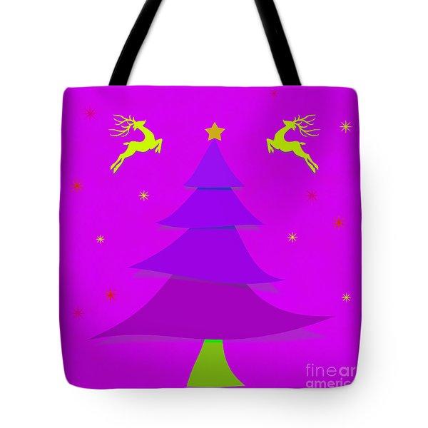 Purple X'mas Tote Bag by Atiketta Sangasaeng