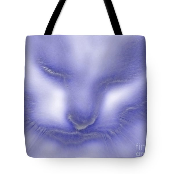 Digital Puss In Blue Tote Bag by Linsey Williams