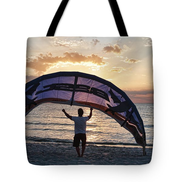 Putting Away The Kite At Clam Pass At Naples Florida Tote Bag