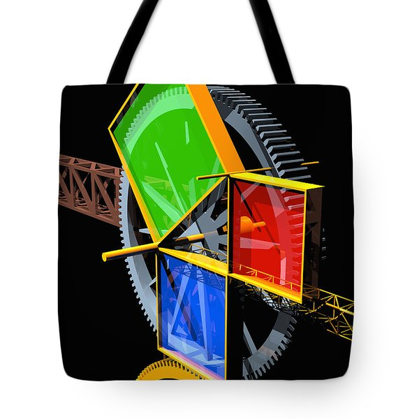 Pythagorean Machine Portrait 2 Tote Bag by Russell Kightley