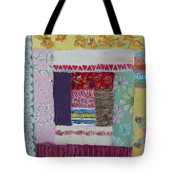 Q Is For Quilt Detail From Childhood Quilt Painting Tote Bag by Dawn Senior-Trask