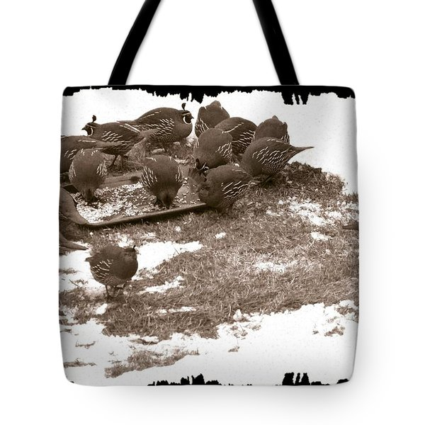 Quail Having Lunch Tote Bag by Will Borden