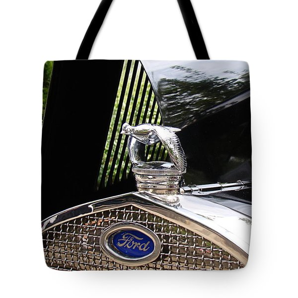 Tote Bag featuring the photograph Quail Radiator Cap- Ford by Nick Kloepping
