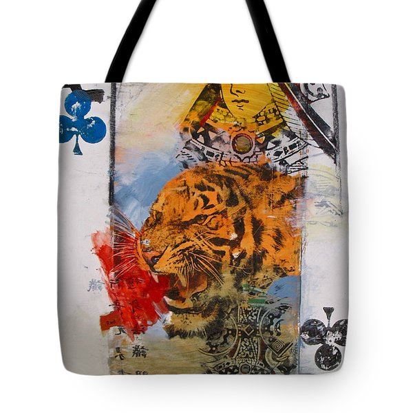 Tote Bag featuring the painting Queen Of Clubs 4-52  2nd Series  by Cliff Spohn