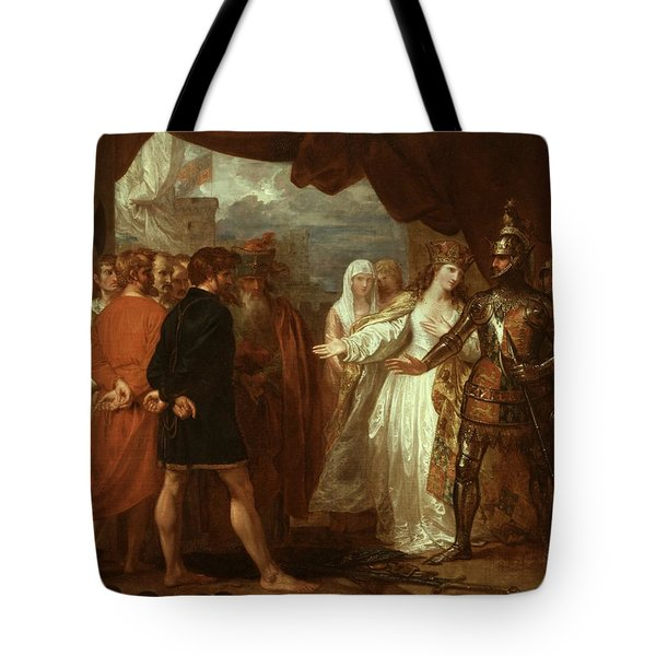 Queen Philippa Interceding For The Lives Of The Burghers Of Calais Tote Bag by Benjamin West