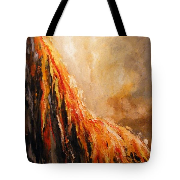 Tote Bag featuring the painting Quite Eruption by Karen  Ferrand Carroll