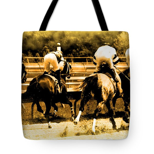 Tote Bag featuring the photograph Race To The Finish Line by Alice Gipson
