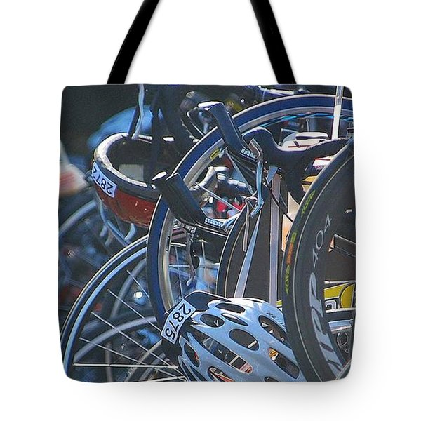 Tote Bag featuring the photograph Racing Bikes by Sarah McKoy