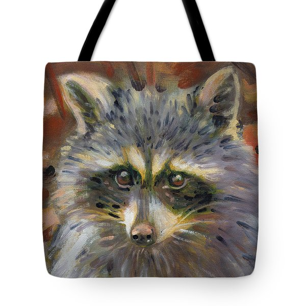 Tote Bag featuring the painting Racoon by Donald Maier