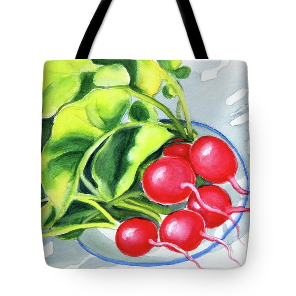 Tote Bag featuring the painting Radishes On Plate 2 by Inese Poga