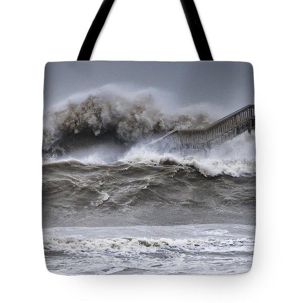 Raging Black Sea Tote Bag by Evgeni Dinev