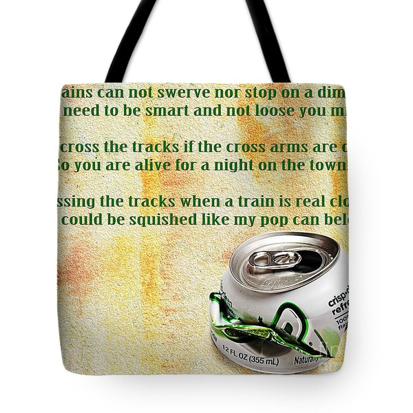 Rail Road Safety In Green Tote Bag by Andee Design