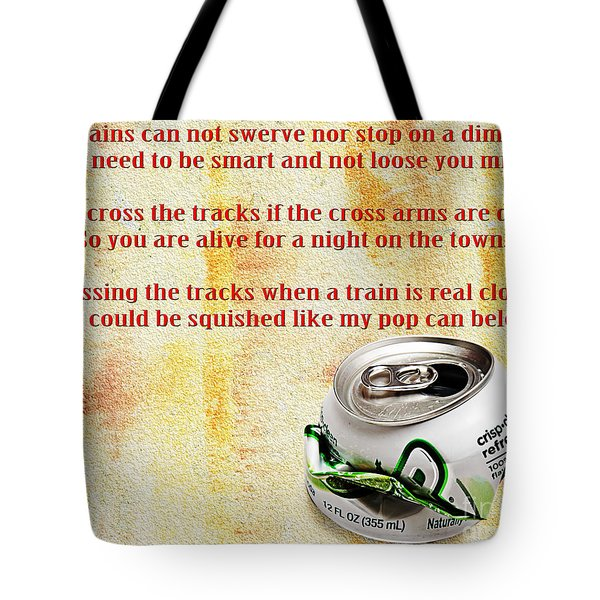 Rail Road Safety In Red Tote Bag by Andee Design