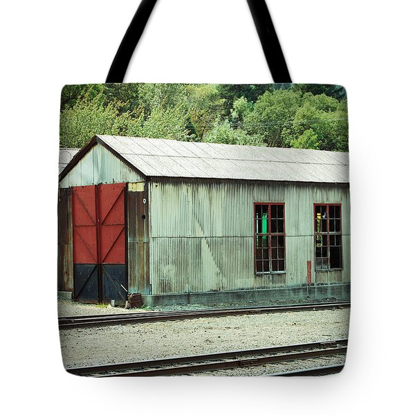 Railroad Woodshed 2 Tote Bag by Holly Blunkall