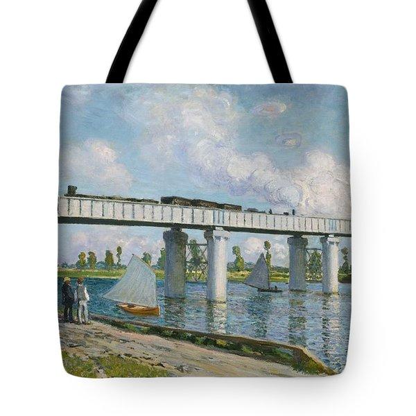 Railway Bridge At Argenteuil Tote Bag by Claude Monet