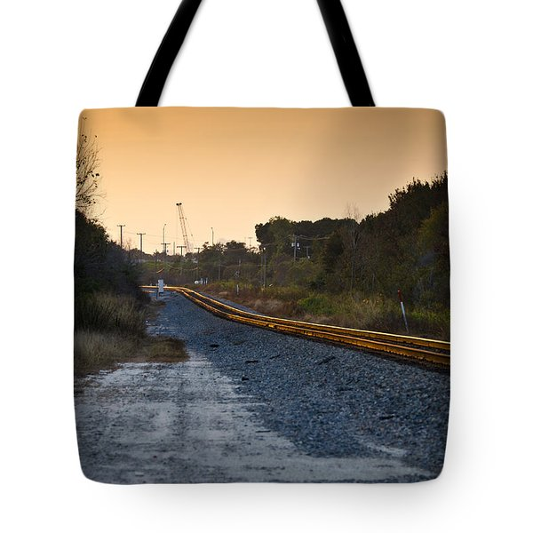 Railway Into Town Tote Bag by Carolyn Marshall