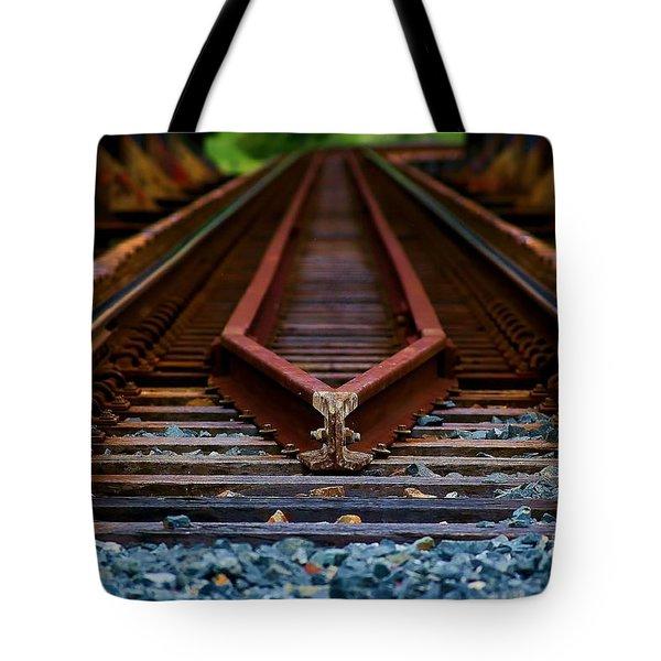 Railway Track Leading To Where Tote Bag