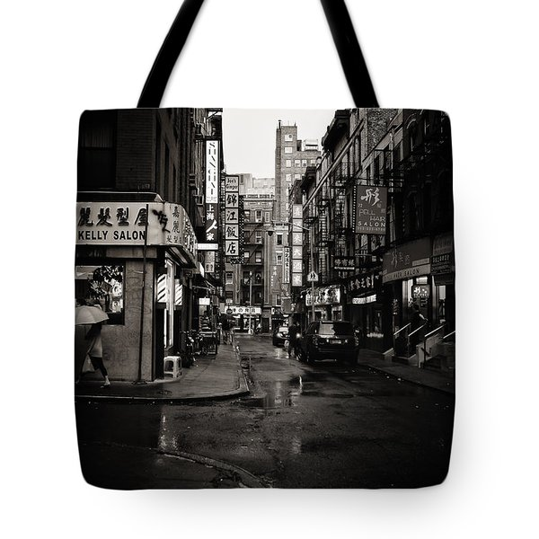 Rain - Pell Street - New York City Tote Bag by Vivienne Gucwa