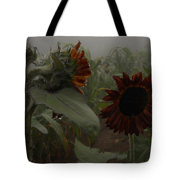 Tote Bag featuring the photograph Rain In The Sunflower Garden by Diannah Lynch