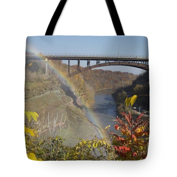 Tote Bag featuring the photograph Rainbow At Lower Falls by William Norton