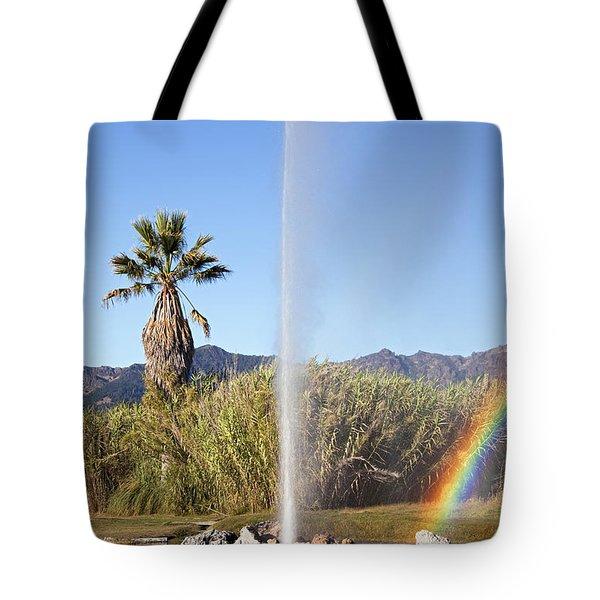 Rainbow At Old Faithful Tote Bag by Jenna Szerlag