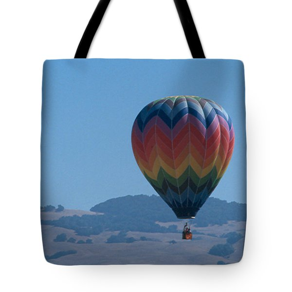 Rainbow Balloon Over Hills Tote Bag