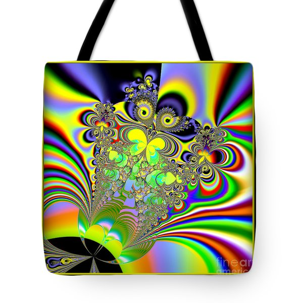 Rainbow Butterfly Bouquet Fractal 56 Tote Bag by Rose Santuci-Sofranko